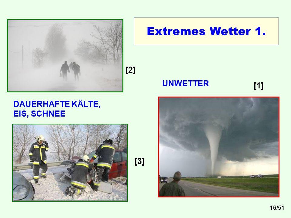 Extremes Wetter 1. [2] UNWETTER [1] DAUERHAFTE KÄLTE, EIS, SCHNEE [3]